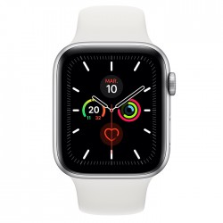 Acheter un smartphone neuf - Apple Watch Serie 5 GPS - Boîtier en Aluminium Argent avec Bracelet Sport Blanc 44 mm - garantie 24